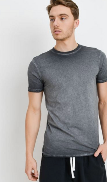 Mens's Washed Grey Crew Neck Tee