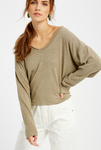 LONG SLEEVE KNIT TOP- Olive