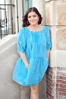 Denim Dress Lt Blue with Pockets