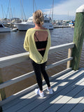 Knit French Terry LS Top Back Overlap - Lemon