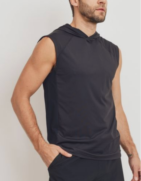 Split Perforated Hoodie Muscle Tank - Black
