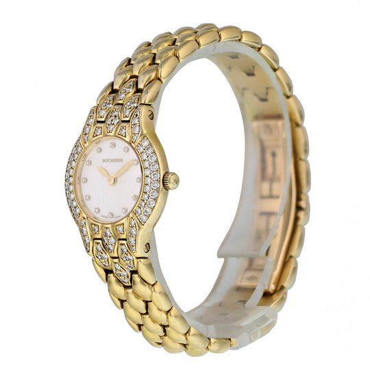 Bucherer Medea Pearl Dial Yellow Gold Ladies Watch