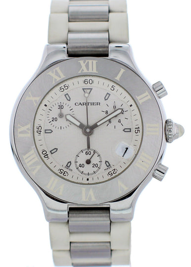 Cartier Chronoscaph 21 2424 Stainless Steel Watch