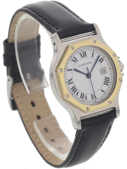 Ladies 18k Yellow Gold & SS Cartier Santos Octagon Automatic