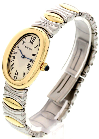 Ladies Cartier Baignoire 18K Yellow Gold & SS 3485