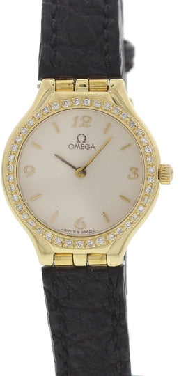 Ladies Omega 18K Yellow Gold Diamond Bezel Watch
