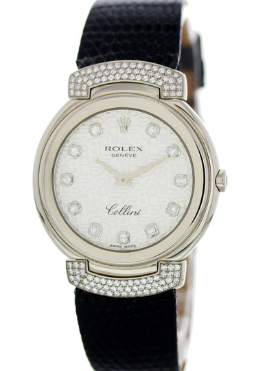 Rolex Cellini 6682 18K White Gold Diamonds Ladies Watch