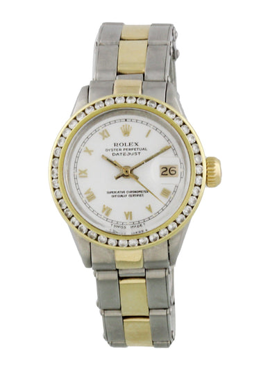 Rolex Date 6517 Diamond Bezel Vintage Ladies Watch Box Papers