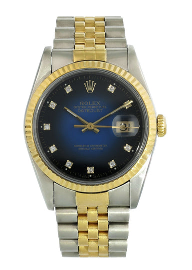 Rolex Datejust 16233 Blue Vignette Diamond Dial Watch Box Papers