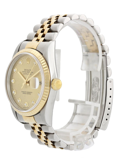 Rolex Datejust 16233G Diamond Dial Men Watch Box Papers