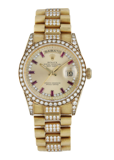 Rolex Day Date 18388 Yellow Gold Diamond Men's Watch