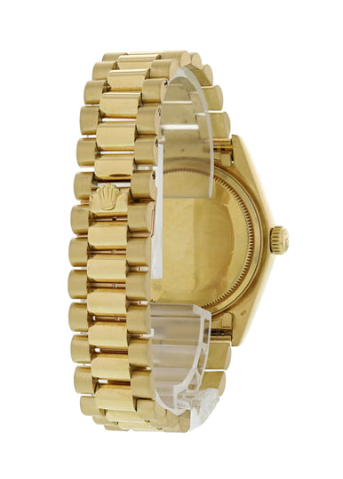 Rolex Day-Date President 18038 Wood Dial 18K Yellow Gold Mens Watch