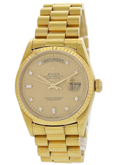 Rolex Day-Date President Diamond Dial 18038 Mens Watch