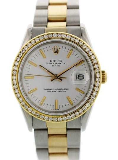 Rolex Oyster Perpetual Date 15053 Two Tone Diamond Bezel