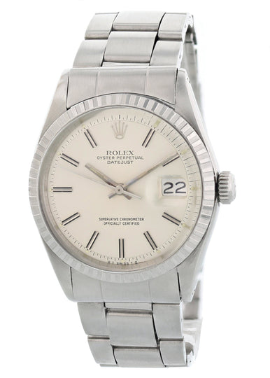 Rolex Oyster Perpetual Datejust 1603 Sigma Wide Boy Dial Mens Watch