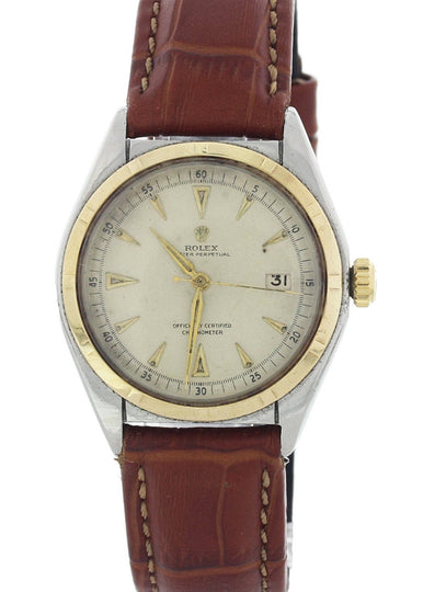 Rolex Oyster Perpetual Engine Turned Bezel 5031 Bubble Back Vintage Mens Watch