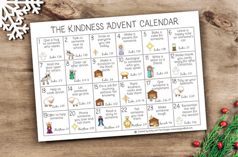 Christian advent calendar, kindness activity chart, downloadable kind advent calender