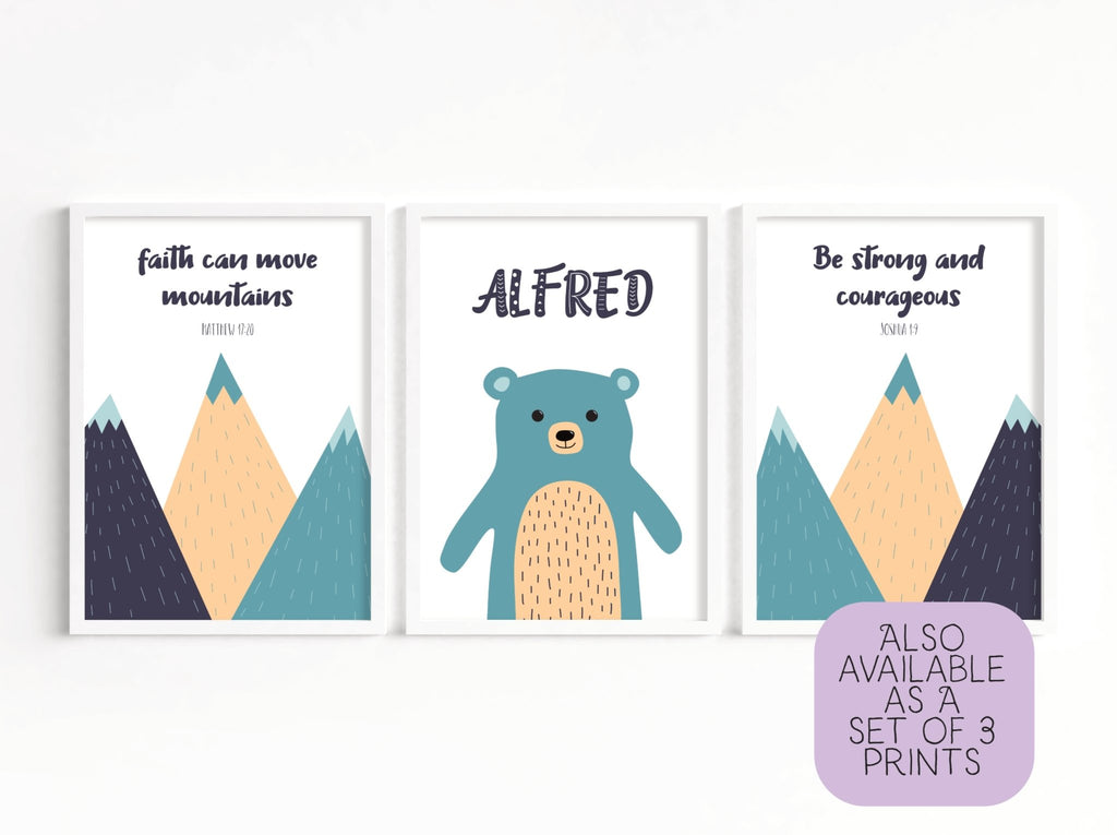 Be Strong and Courageous Nursery Print - Dolly and Fred Designs