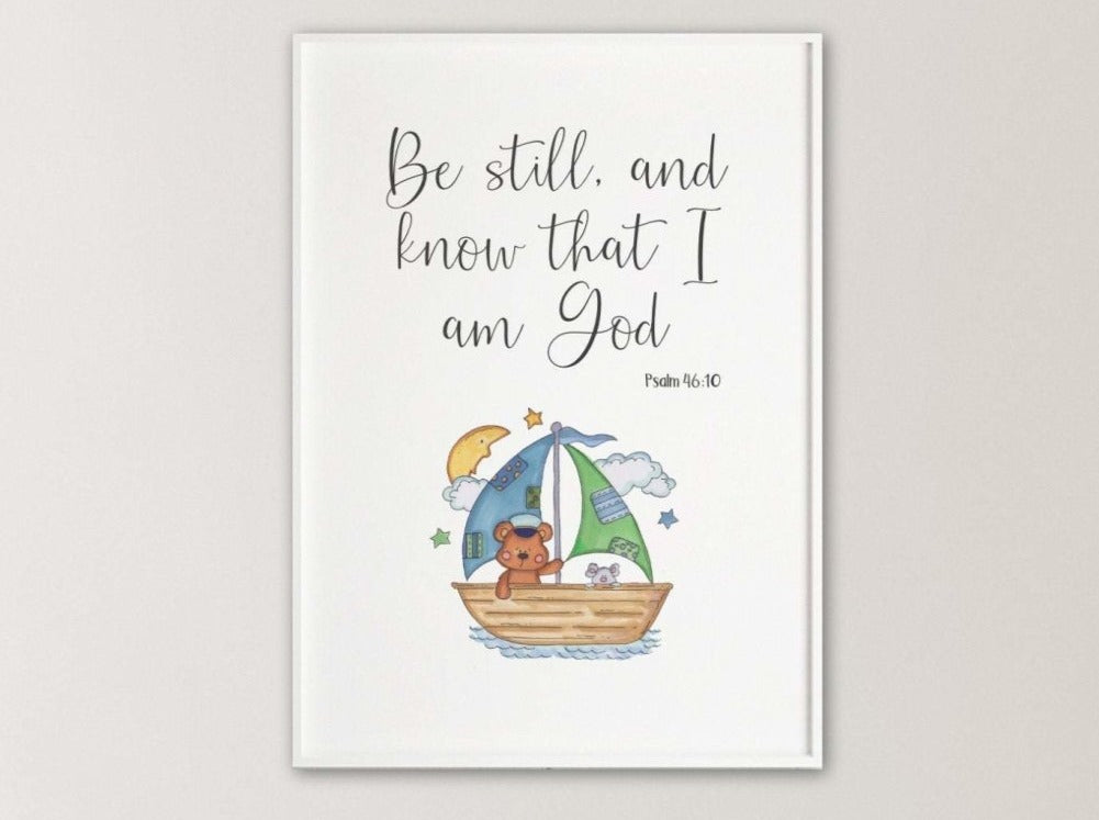 Boat nursery bible verse print - Dolly and Fred Designs