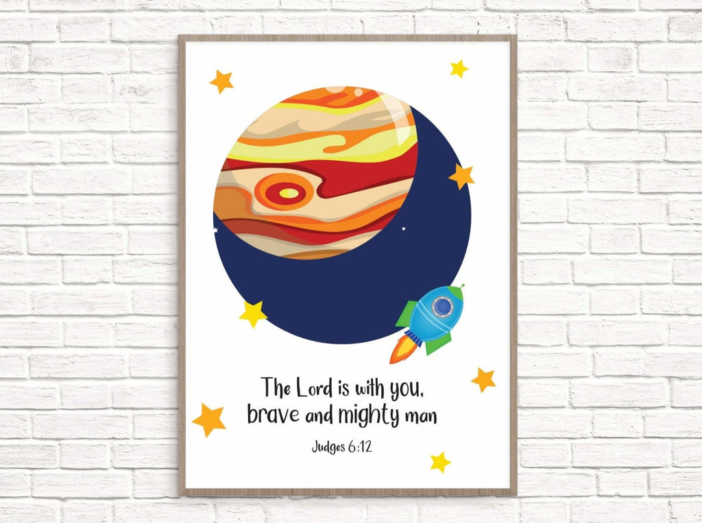 Childrens space art print - Dolly and Fred Designs