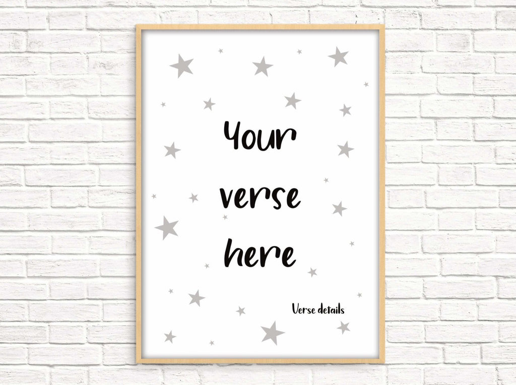 Custom bible verse print with stars - Dolly and Fred Designs