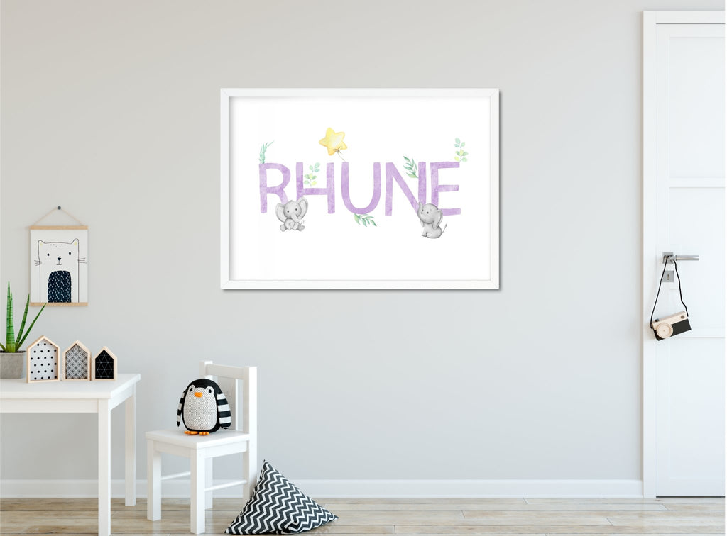 Elephant Name Print - Dolly and Fred Designs