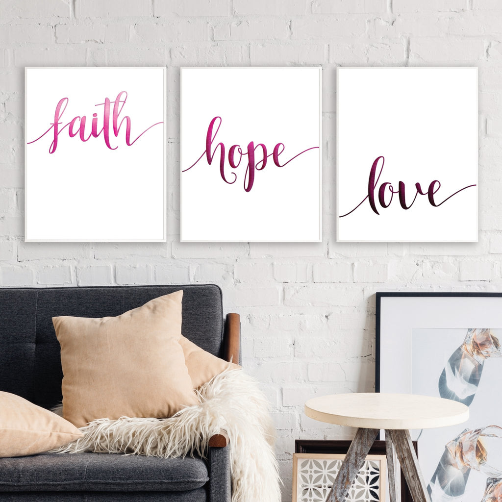 Faith Hope Love Bible Verse Print set of 3 - Dolly and Fred Designs