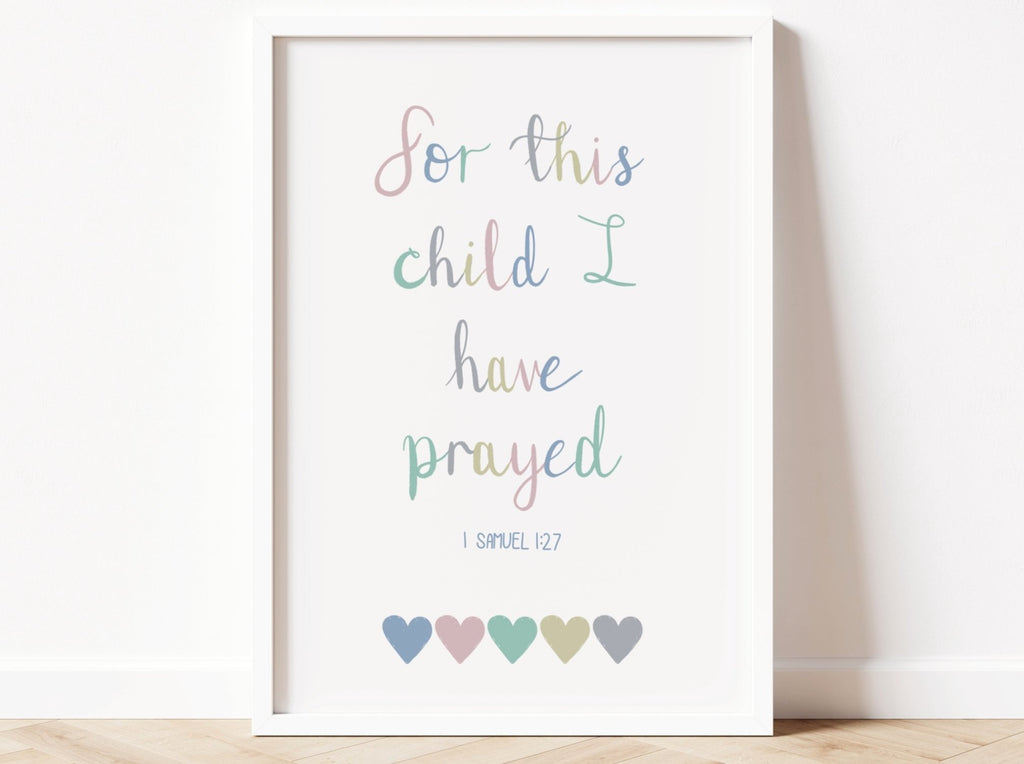 For this Child I have Prayed Bible Verse Print - Dolly and Fred Designs