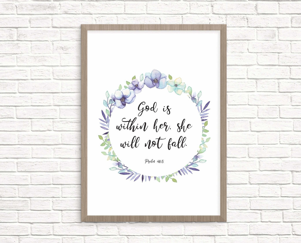 God is within her bible verse print - Dolly and Fred Designs
