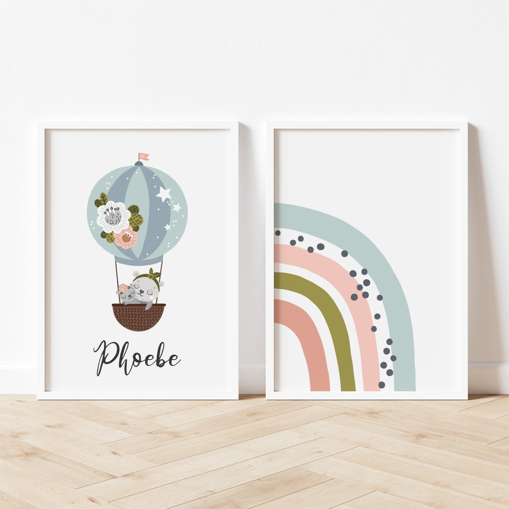 Hot air balloon and rainbow print set - Dolly and Fred Designs