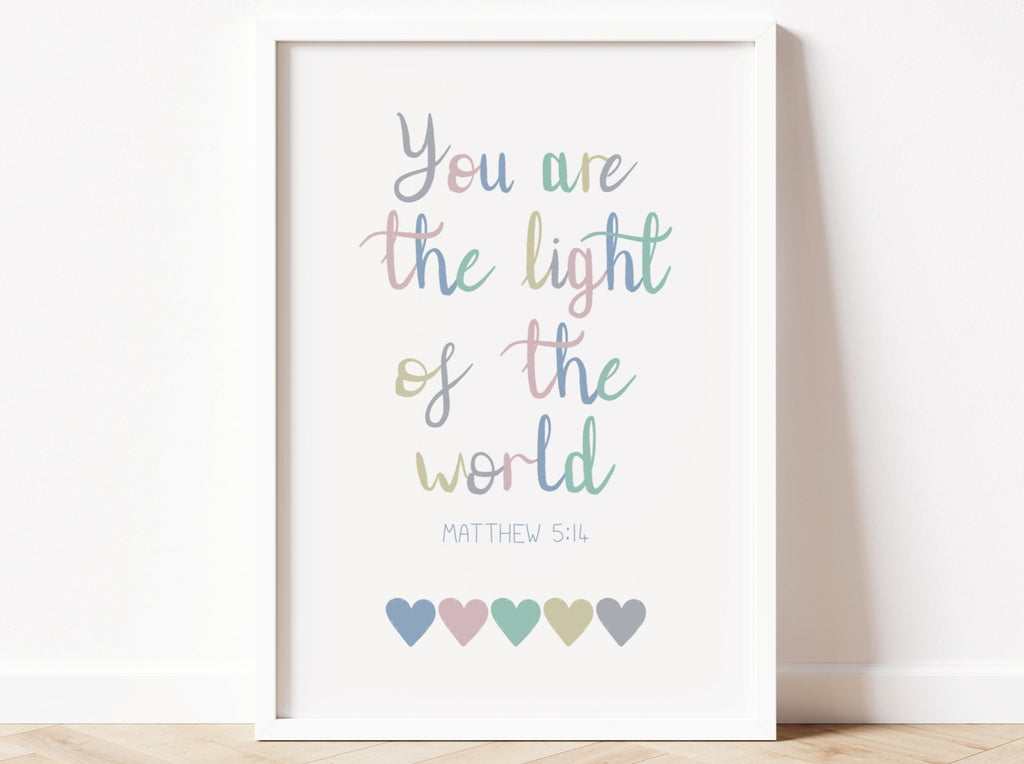 Light Of The World Bible Verse Print - Dolly and Fred Designs