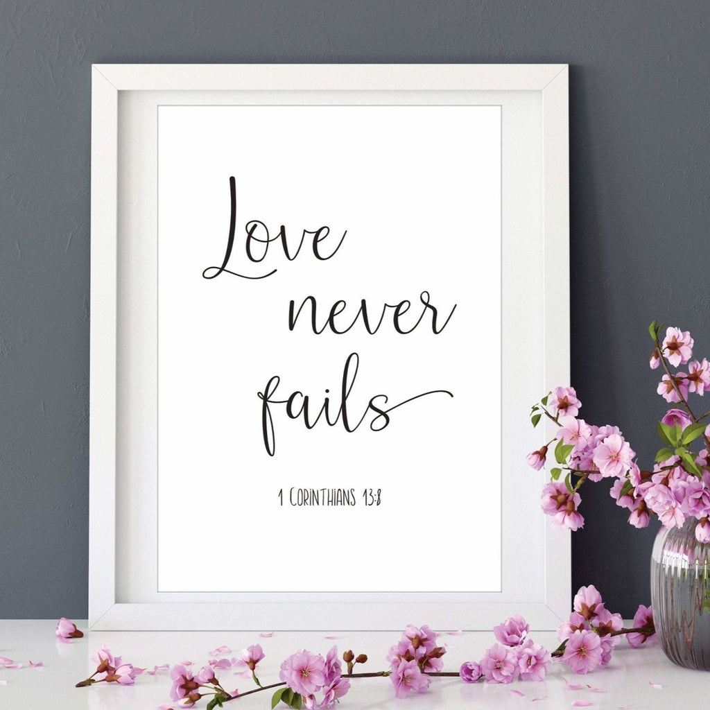 Love Never Fails Bible Verse Print - Dolly and Fred Designs