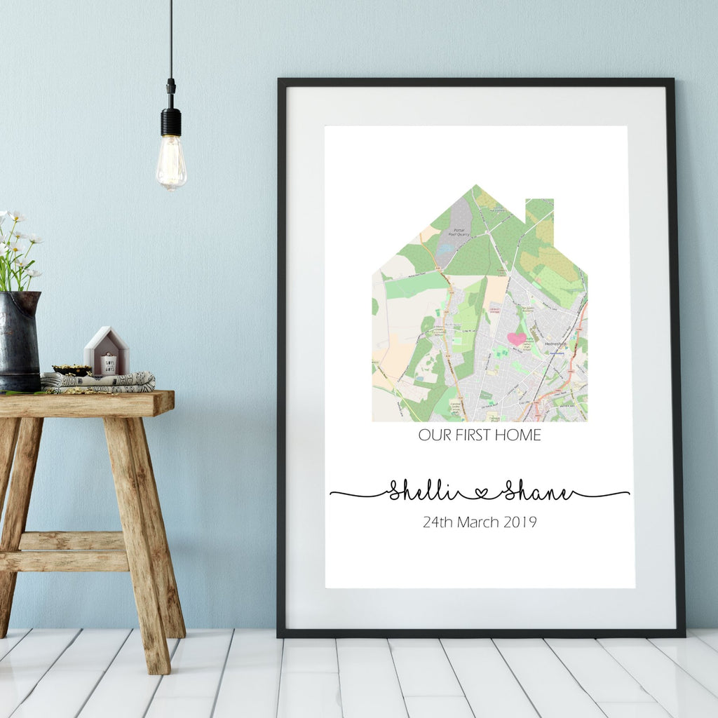 New Home Custom Map Print - Dolly and Fred Designs