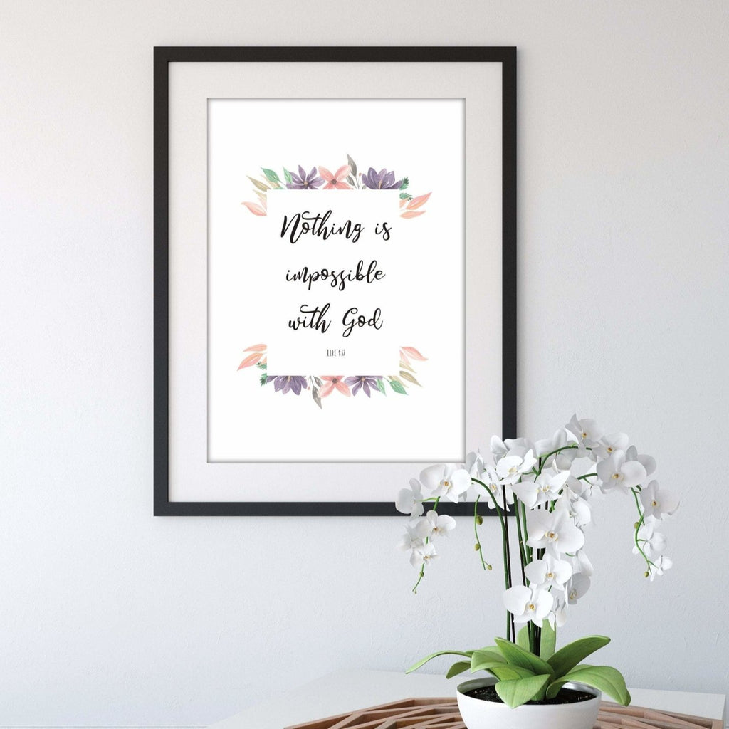 Nothing is impossible bible verse print - Dolly and Fred Designs