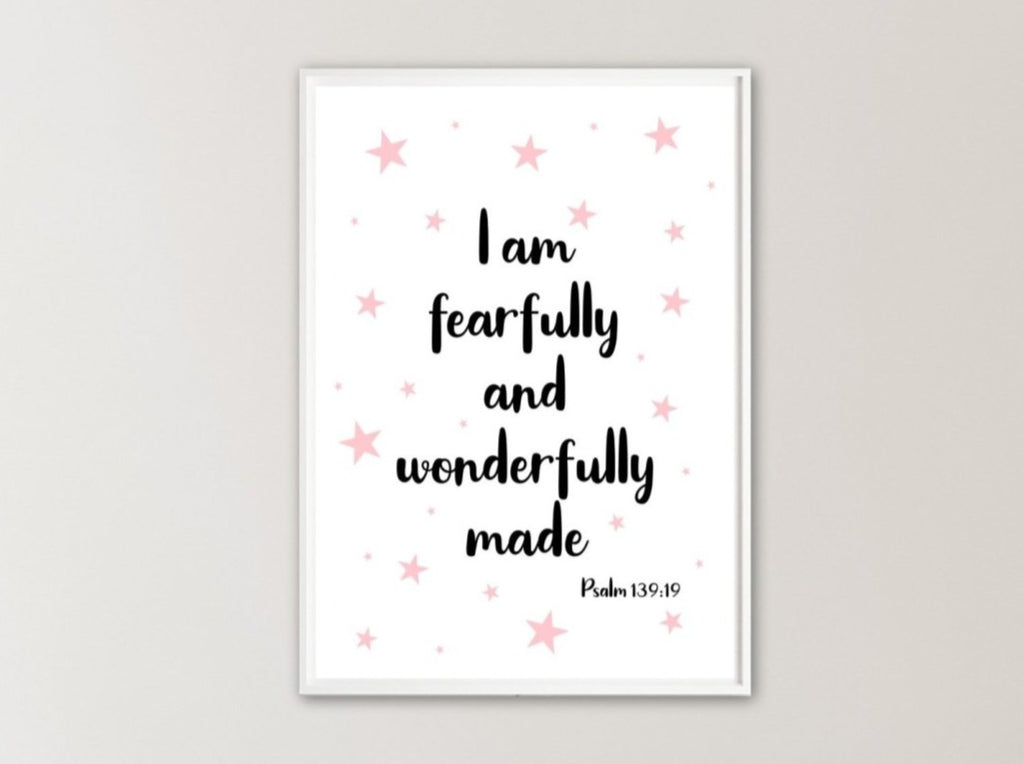 Nursery bible verse print with stars - Dolly and Fred Designs