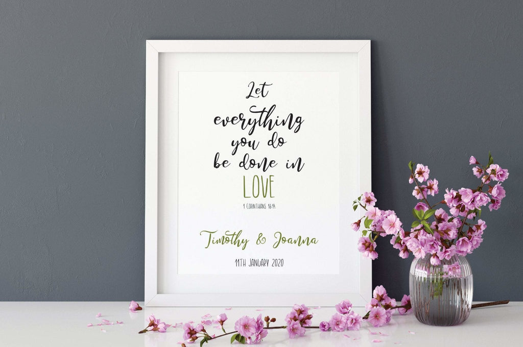 Personalised bible verse wedding gift print - Dolly and Fred Designs
