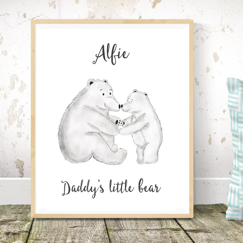 Personalised Daddy and Baby Bear Print - Dolly and Fred Designs