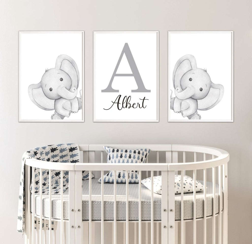 Personalised Elephant Nursery Print Set - Dolly and Fred Designs