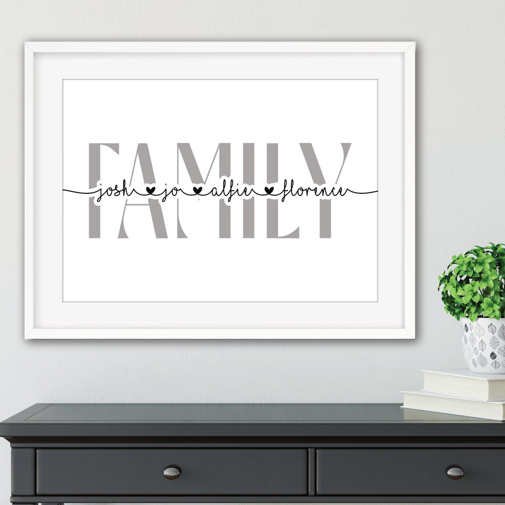 Grey family wall art unframed