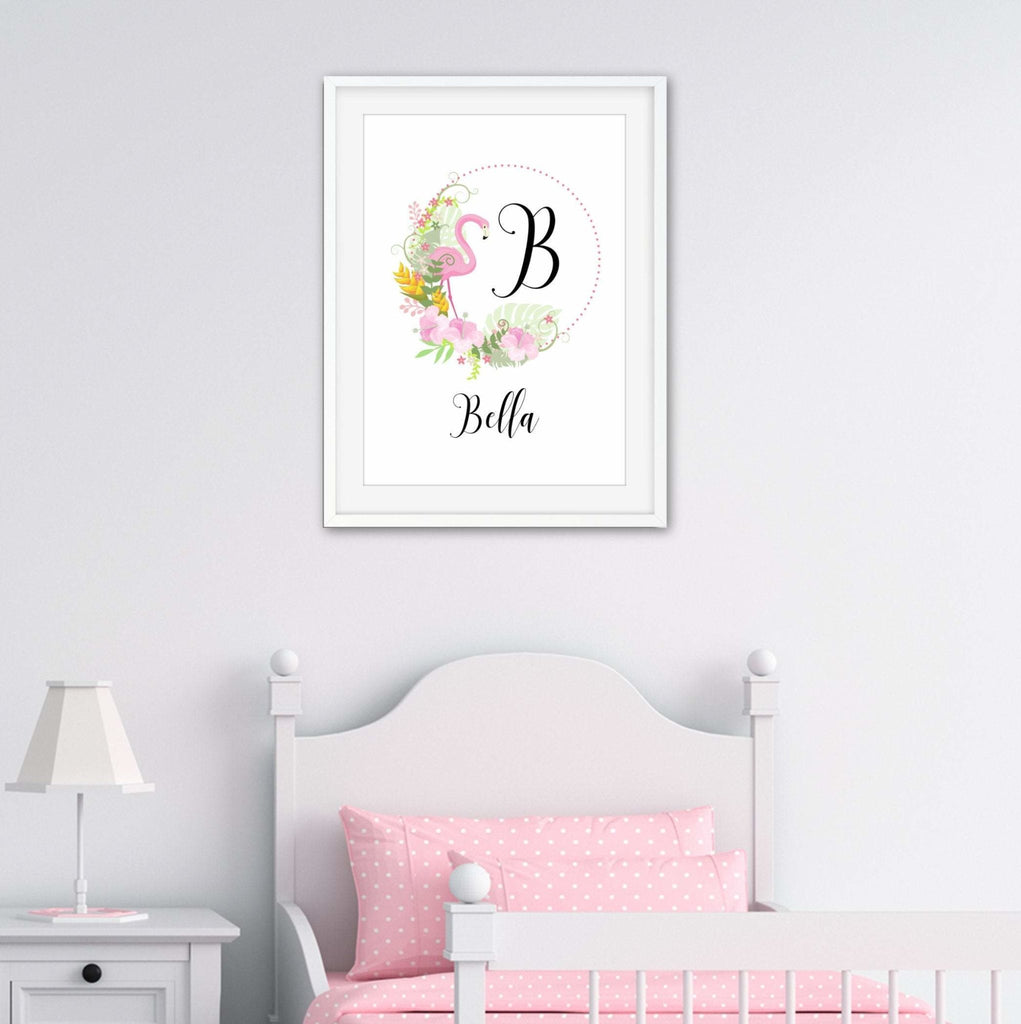 Personalised flamigo initial print - Dolly and Fred Designs