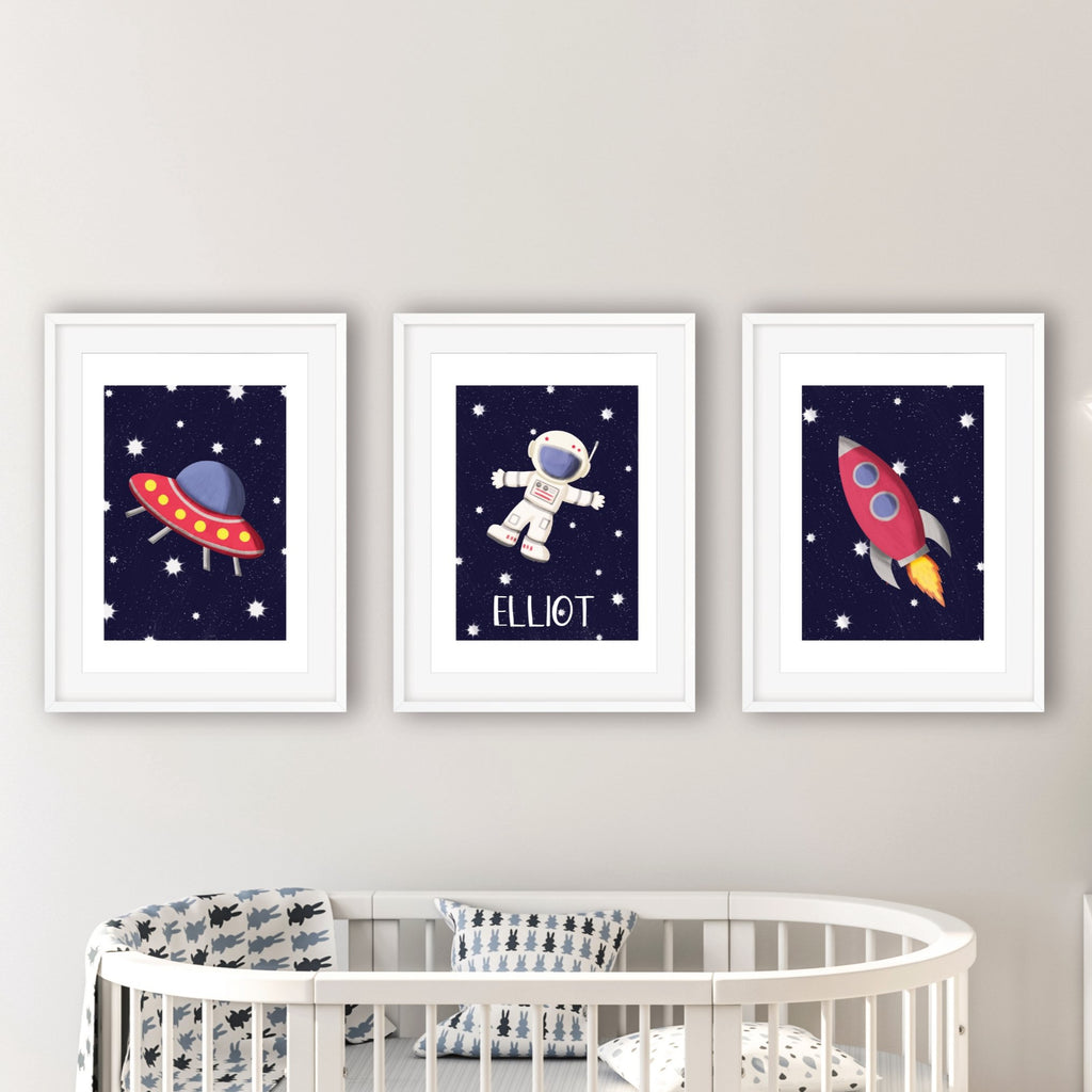 Personalised Outer Space Print Set - Dolly and Fred Designs