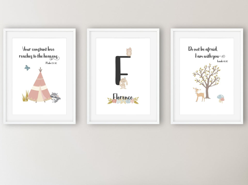 Personalised woodland initial print trio set - Dolly and Fred Designs