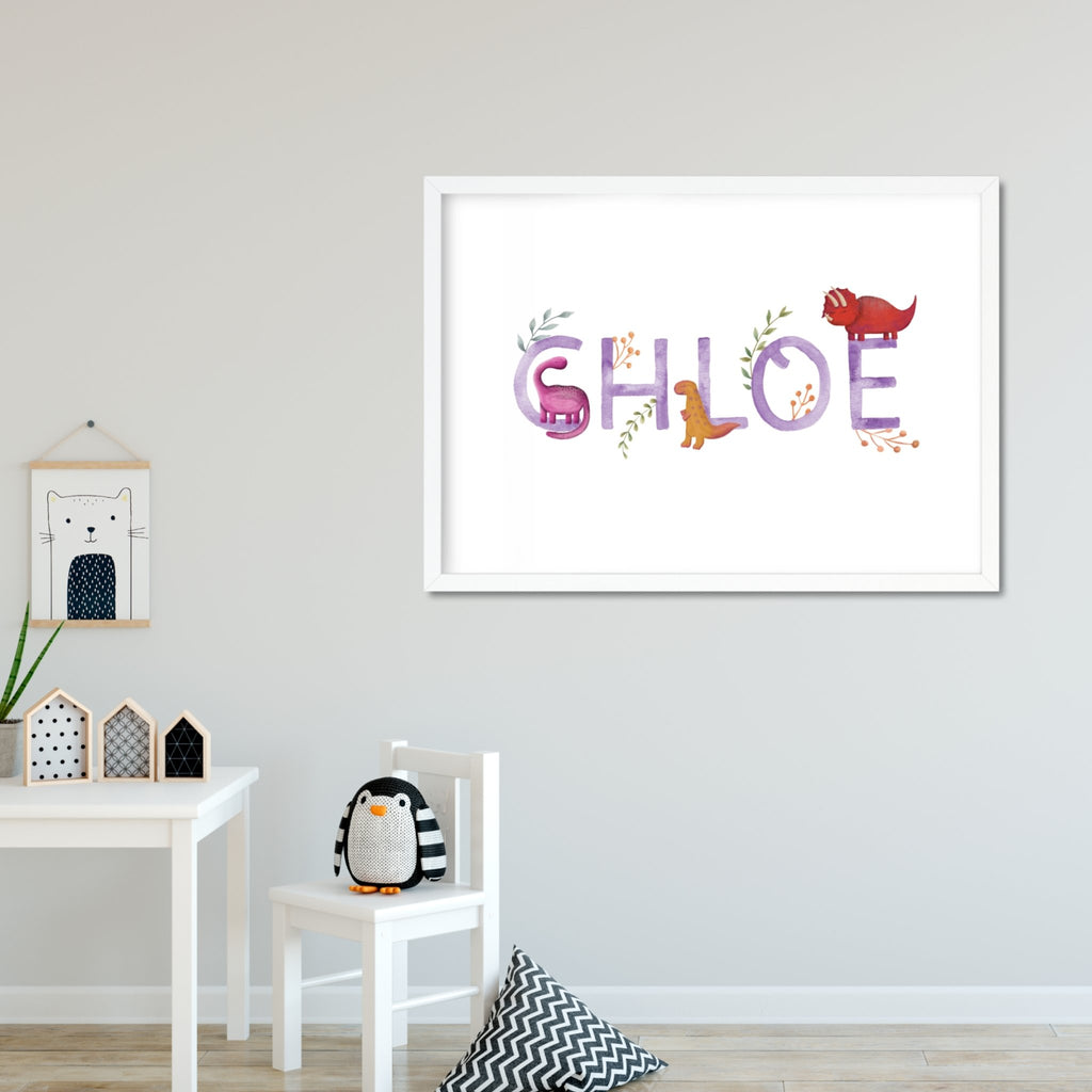 Purple Dinosaur Name Print - Dolly and Fred Designs