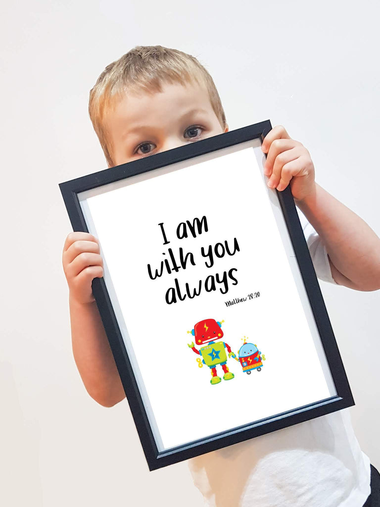 Robot nursery bible verse print - Dolly and Fred Designs