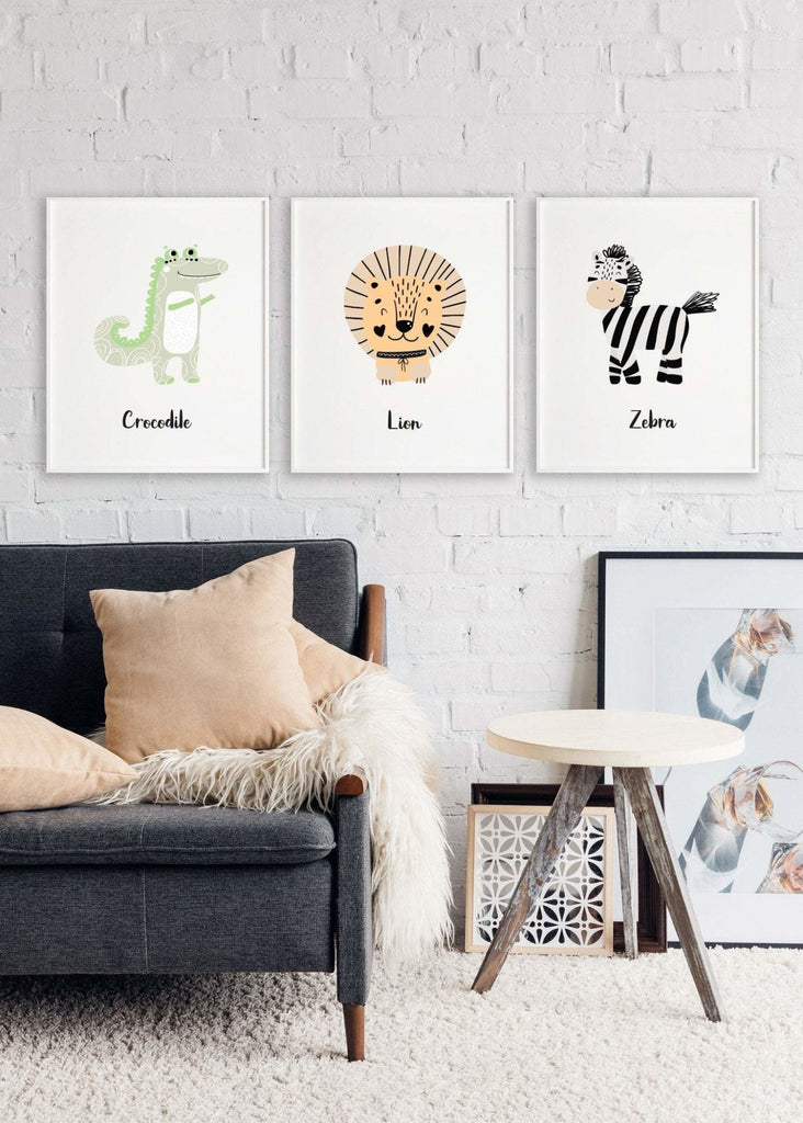 Scandinavian animal animal print set of 3 - Dolly and Fred Designs
