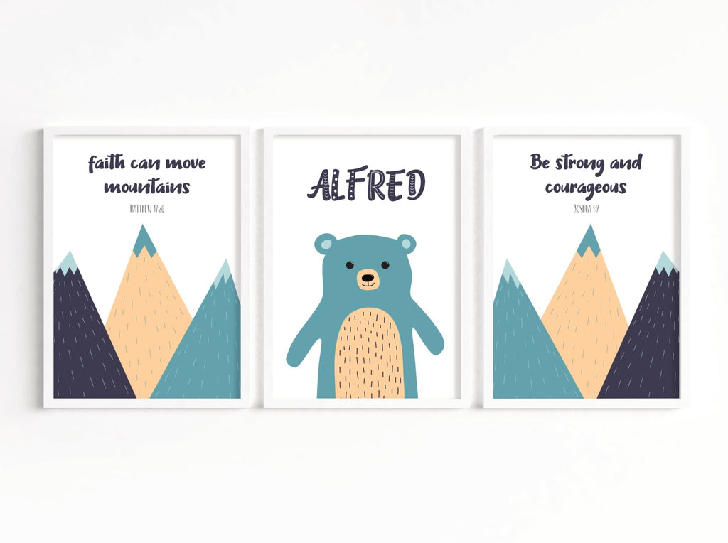Set of three scandi mountains scripture prints - Dolly and Fred Designs