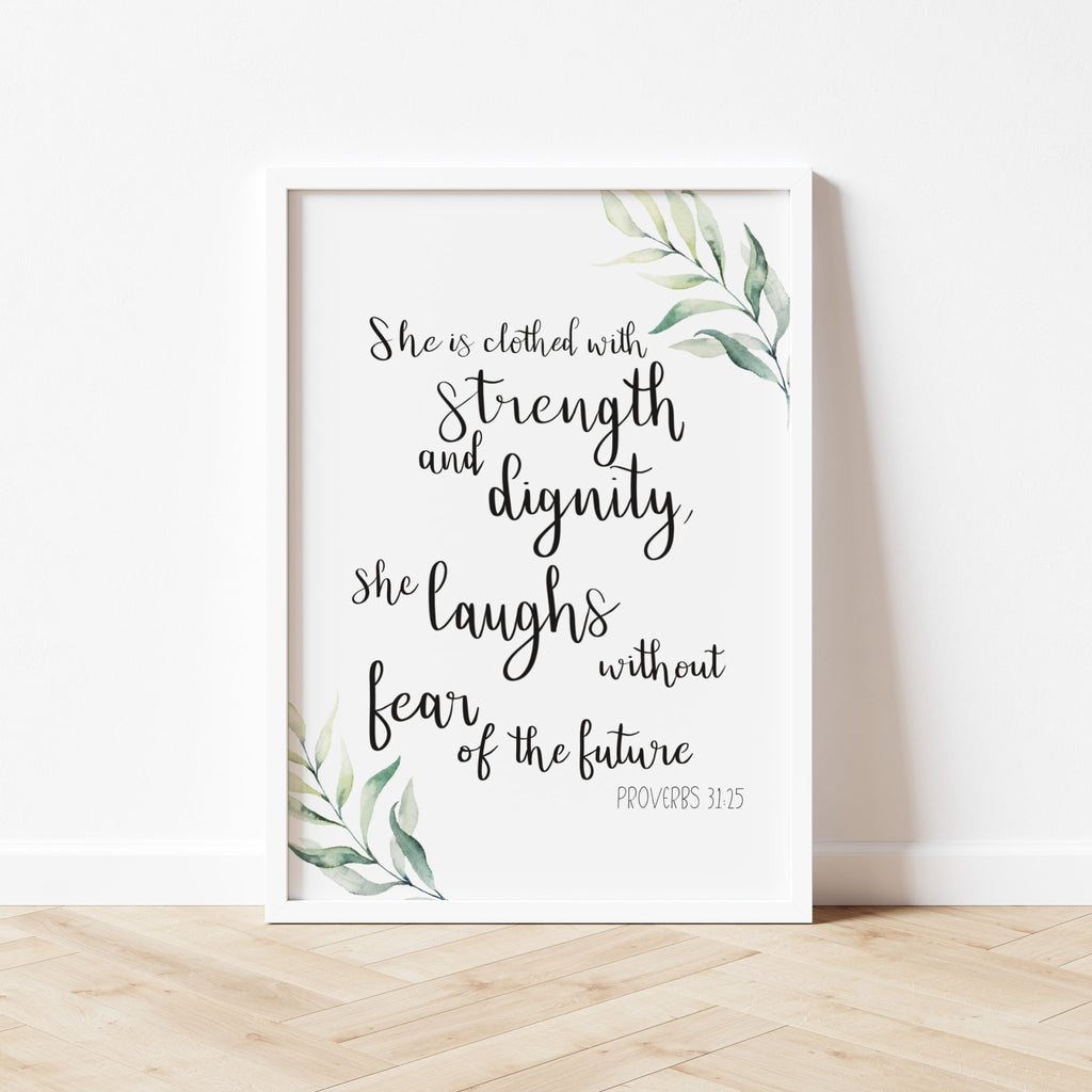 She clothed with strength and dignity watercolour print - Dolly and Fred Designs