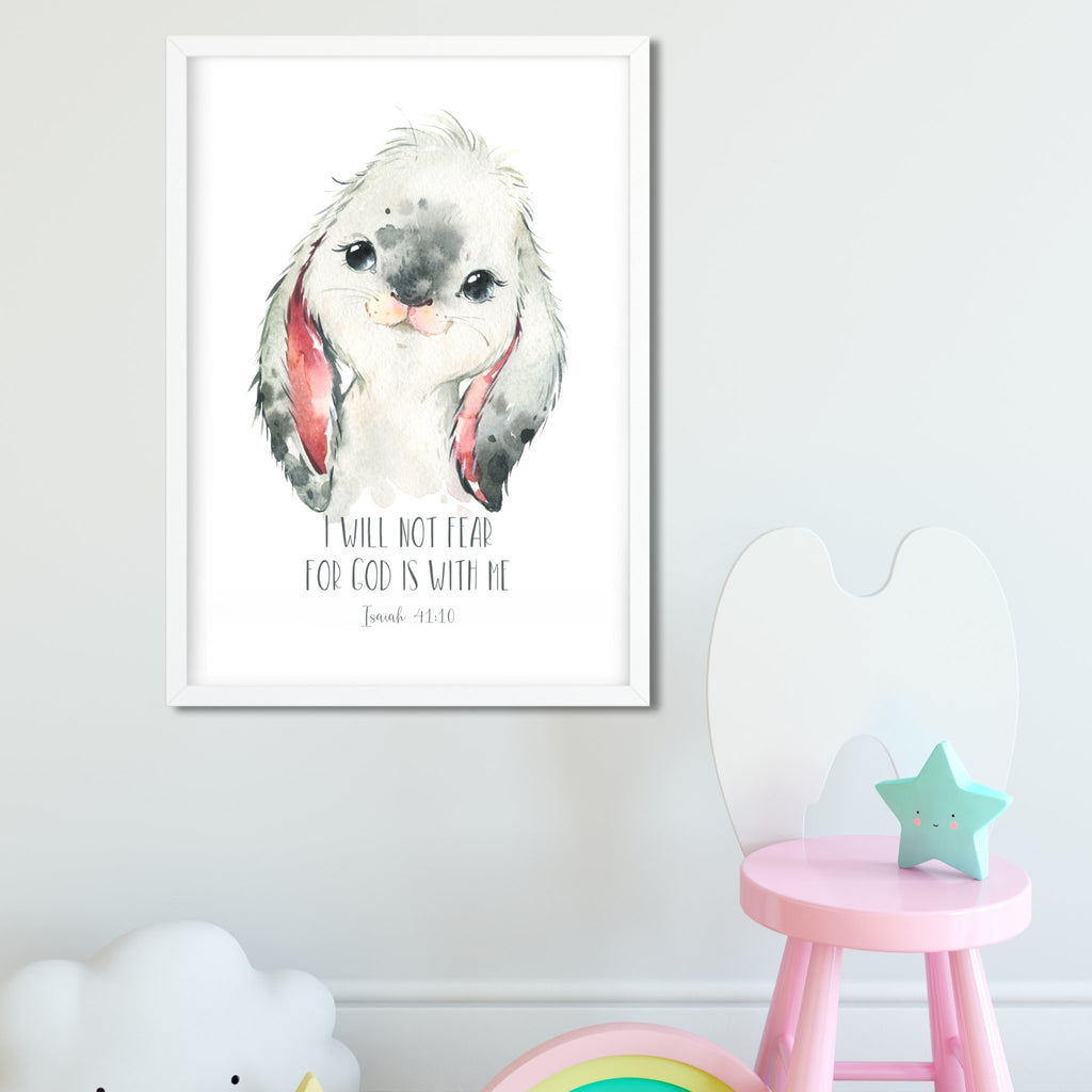 Watercolour Bunny Bible Verse Print Set - Dolly and Fred Designs