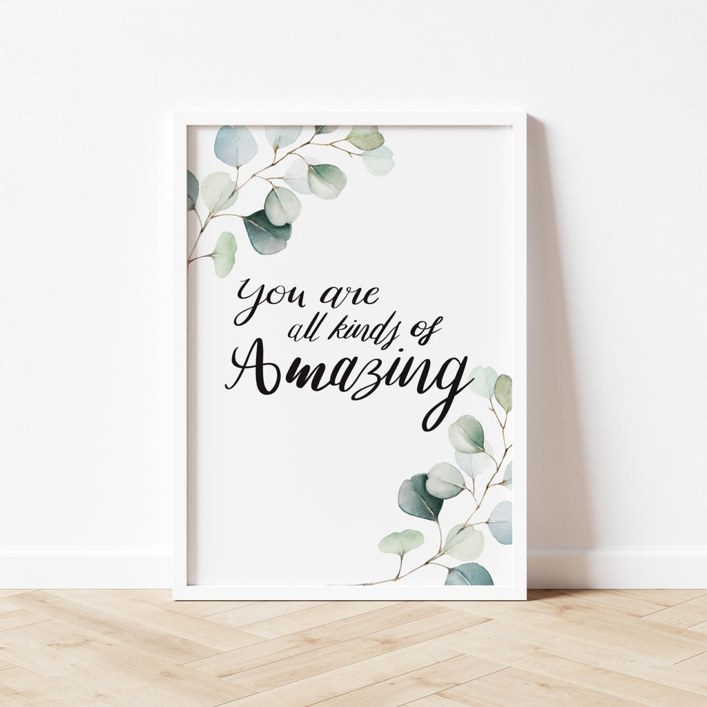 You are amazing Watercolour Leaves Print - Dolly and Fred Designs