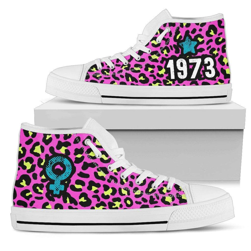 Fuzzbooster Womens High Top - White - 1973 | High Top Sneakers | Pink Leopard | White / US5.5 (EU36) 1973 | High Top Sneakers | Pink Leopard | Black
